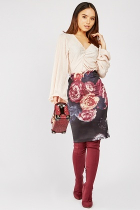 Flower Print Tube Skirt
