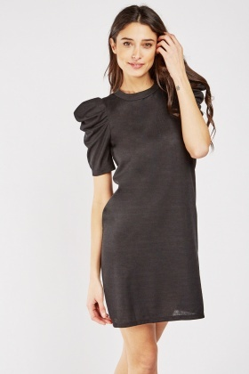 Gathered Puff Sleeve Shift Dress
