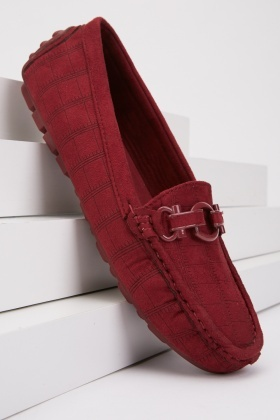 Pattern Suedette Loafers