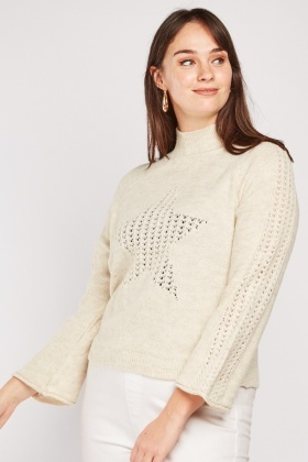 Perforated Star Pattern Knit Jumper