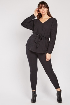 Belted Ribbed Top And Leggings Set