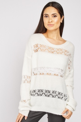 Lace Panel Distressed Jumper
