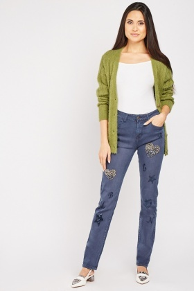 Beaded Embroidered Contrast Jeans
