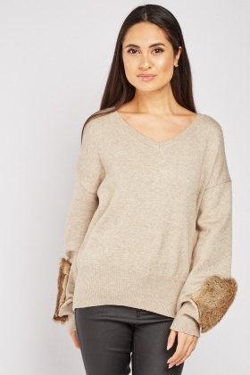 Fur Trim Sleeve Knit Sweater