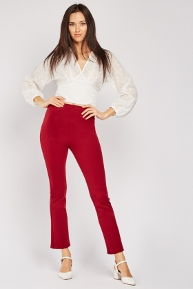 High Waist Slim Fit Trousers