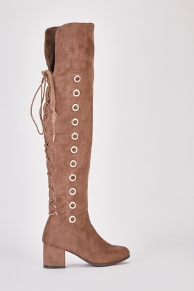 Eyelet Detail Knee High Boots