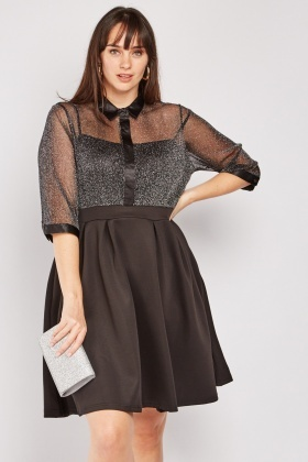 Lurex Box Pleated Skater Dress