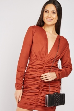Ruched Plunge Mini Dress