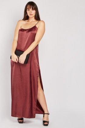 One Shoulder Sateen Maxi Dress