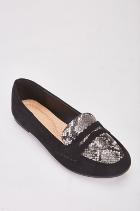 Snake Print Trim Loafers