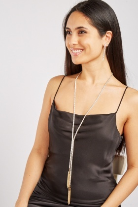 Diamond Lariat Necklace And Earrings Set