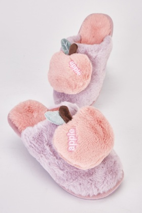 Fluffy Apple Womens Slippers