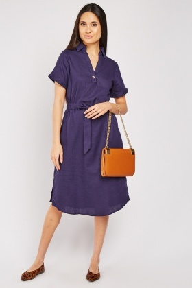 Drawstring Waist Midi Textured Dress
