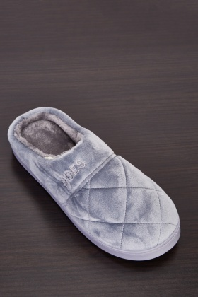 Quilted Fluffy Mens Slippers