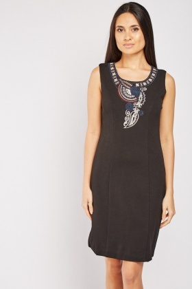 Embroidered Textured Shift Dress