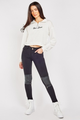 Embossed Knee Panel Biker Jeggings
