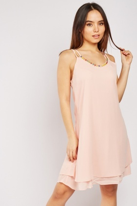 Gemstone Trim Chiffon Dress