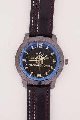Mens Stitched Faux Leather Strap Watch