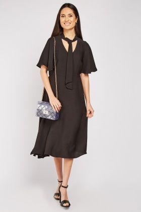 Pussybow Neck Midi Dress