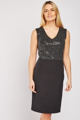 Sequin Overlay Shift Dress