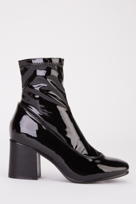 Vinyl Wide Fit Heeled Boots