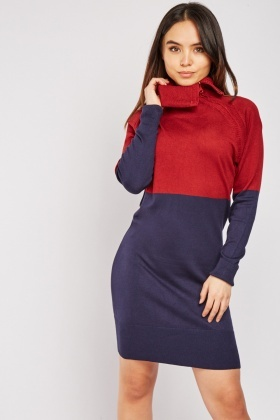 Two Tone Knit Jumper Dress