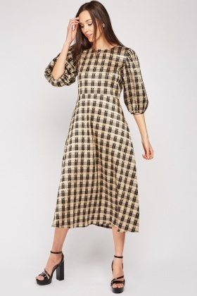 Checkered Puff Sleeve Midi Dress