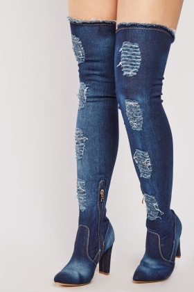 Distressed Denim Thigh High Boots