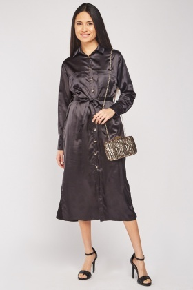 Front Pocket Midi Sateen Shirt Dress