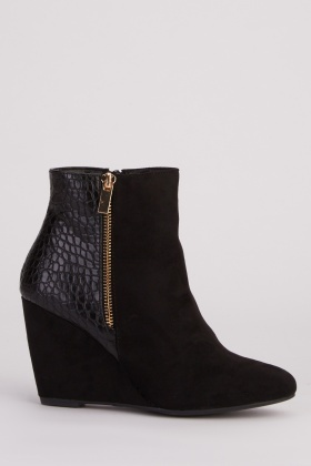 Mock Croc Suedette Wedge Boots