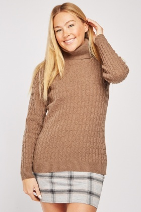 Roll Neck Cable Knit Top