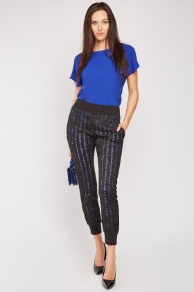Lace Overlay Skinny Trousers