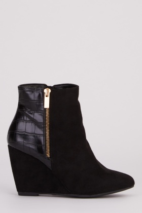 Mock Croc Wedge Boots