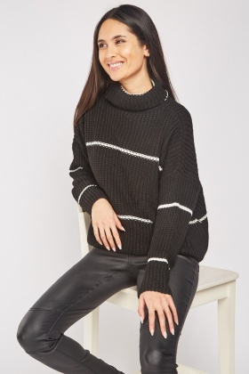 Roll Neck Pinstripe Knit Jumper
