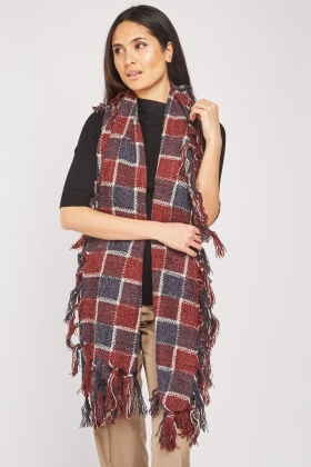Checkered Fringed Scarf