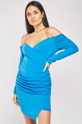 Draped Cold Shoulder Bodycon Dress
