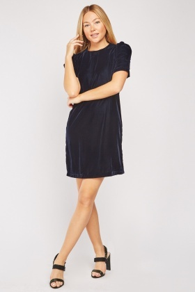 Gathered Sleeve Velveteen Dress