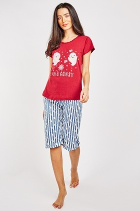 Graphic Print Pyjama Top And Trousers Set