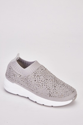 Encrusted Knitted Slip On Trainers $7.00