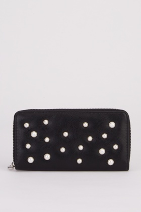 Faux Pearl Studded Purse