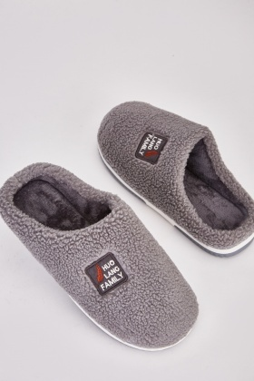 Teddy Fur Mens Patched Slippers