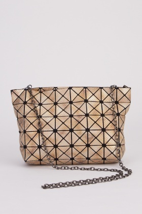 Shimmery Scale Textured Contrast Bag