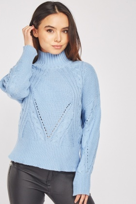 High Neck Cable Knitted Jumper