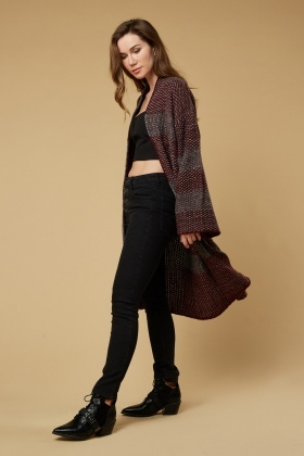 Gradient Pattern Midi Knit Cardigan