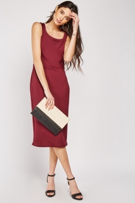 Scoop Neck Midi Scuba Dress