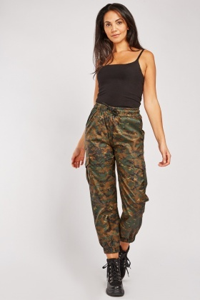 Camouflage Print Combat Trousers $7.00