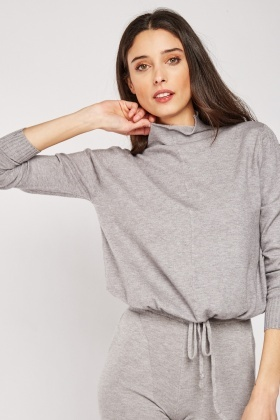Drawstring Waist Knit Top