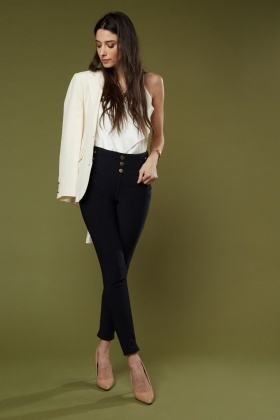 Decorative Button Front Skinny Fit Trousers $7.00