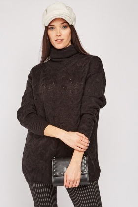 Roll Neck Cable Knit Jumper $7.00