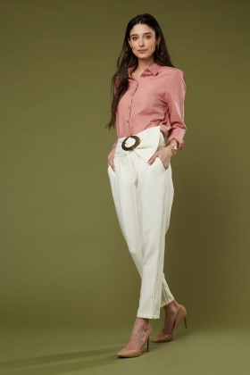 Cream Attached Belt Tapered Trousers